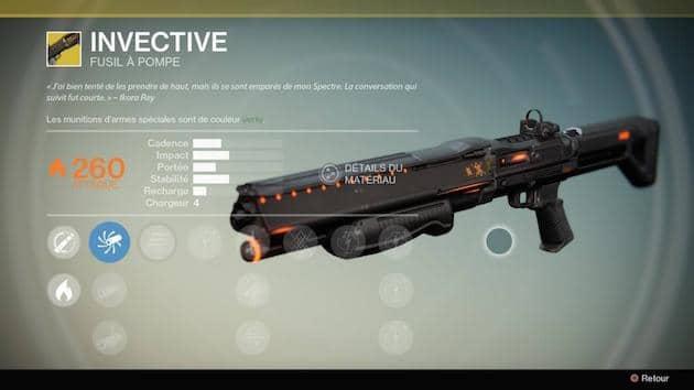 Guide Destiny contrat armes exotiques Invective