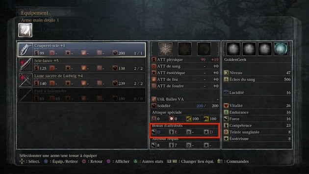 Bloodborne Guide statistiques armes