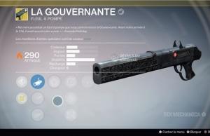 Destiny La Gouvernante arme exotique fusil a pompe