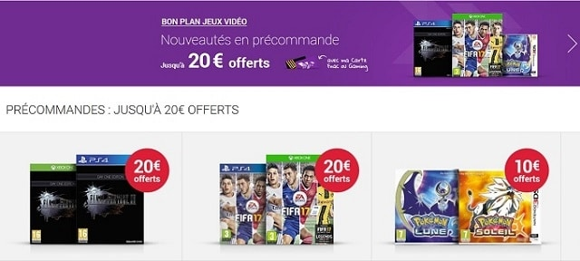 Bons plans precommande jeux video fnac