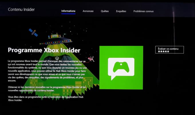 Xbox One Insider Mise a jour